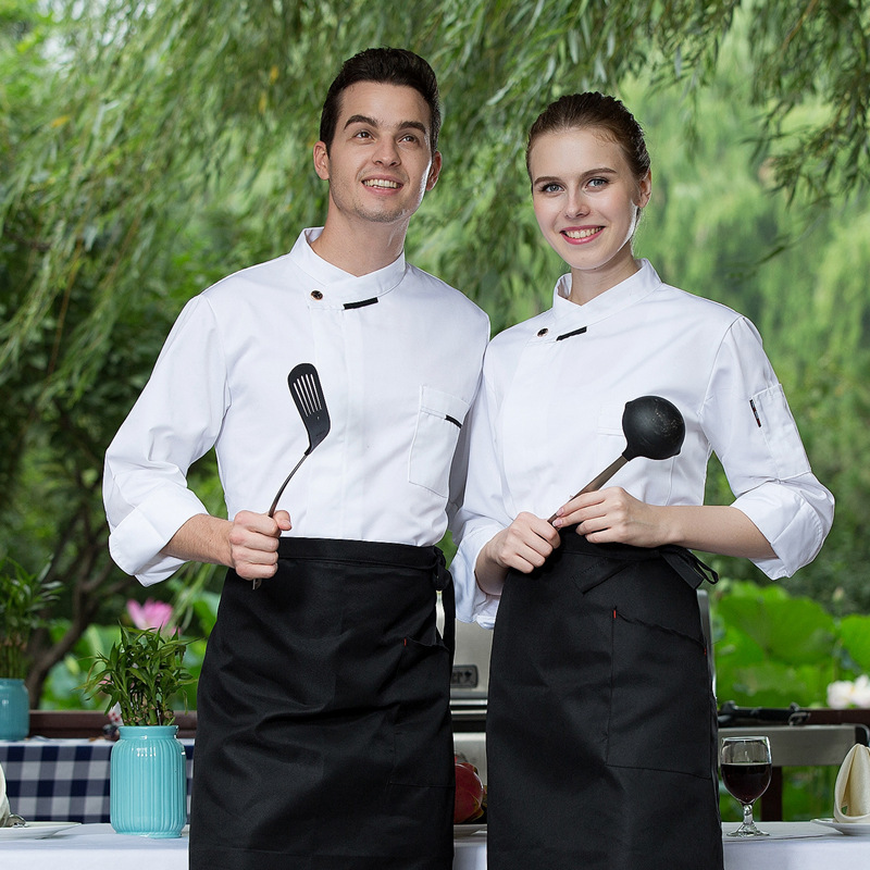 Autumn And Winter Chefs Wear Long-sleeved Hotel Chefs Take Canteen Dining After Dinner Kitchen Coat