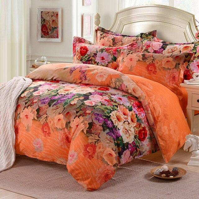 Pastoral Hibiscus Flower Bedding Comforter Set 100 Cotton Queen