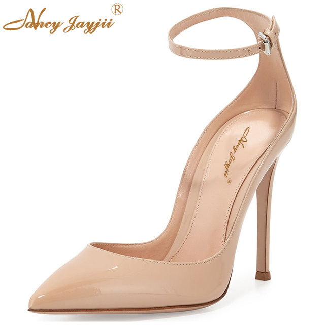 4076dc1357 Nancyjayjii Nude Leather Pointed Toe Ankle Strap High Heels Pumps Shoes For  Woman Casual&Party&Wedding Schoenen Large Size 4-16