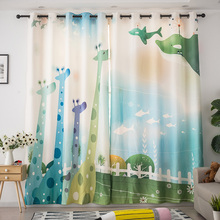 Cartoon Printed Giraffe grassland Curtain Modern Customized Simple Princess Style Girl Room Kids Curtains Window