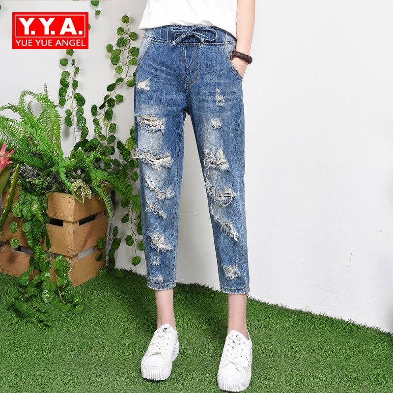 Baggy Loose Fit Womens Jeans Hole Ripped Elastic Waist Cotton Denim Female Trousers Ankle Length Casual Streetwear Harem Pants hole ripped women harem denim pants 2017 spring summer jeans female vintage ankle length big size loose slacks lady baggy pants