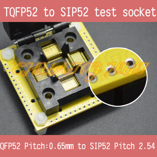 QFP52 to SIP52 test socet FPQ52 TQFP52 LQFP52 0.65mm to SIP52 2.54mm IC SOCKET FPQ-52-0.65-02 tms320f28335 tms320f28335ptpq lqfp 176