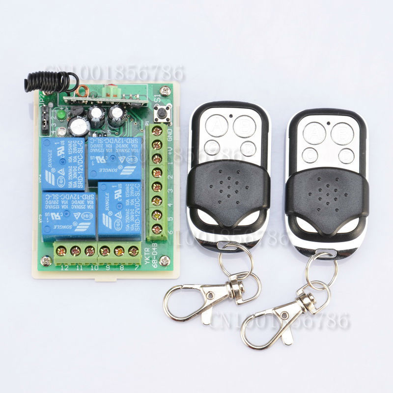 DC12V 10A 4 Channel RF Wireless Remote Control  Switch/Radio Controlled Switch System Receiver With 45PCS Transmitter