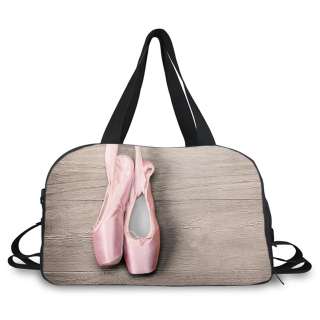 9a74cca63b35 US $30.35 34% OFF|ballet dance print large weekend dance organizer bags gym  duffle bag canvas travel bag with shoes compartment -in Travel Bags from ...