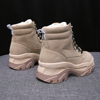 Female Martens Boots Beige Black Platform Boots Comfortable Womens Winter Fur Casual Boots Lace Up Ladies Thick Sole Shoes