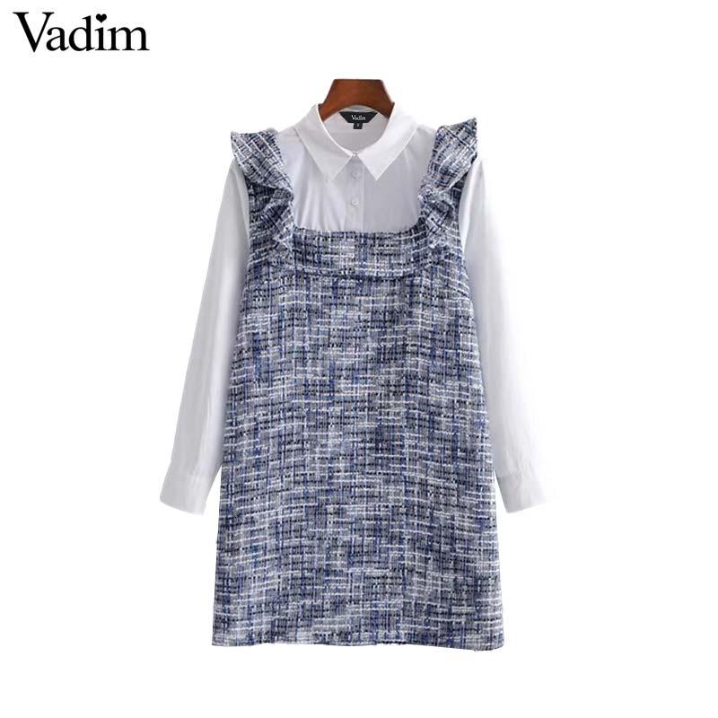 Adaptable Vadim Women Tweed Patchwork Mini Dress Ruffles Long Sleeve Turn Down Collar Vintage Female Casual Dresses Chic Vestidos Qb440 Women's Clothing