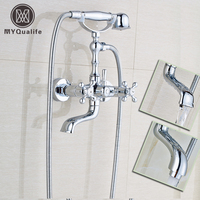 Modern Chrome Brass Telephone Style Bathtub Faucet Wall Mounted Bath Shower Mixer Taps Handheld Shower Set