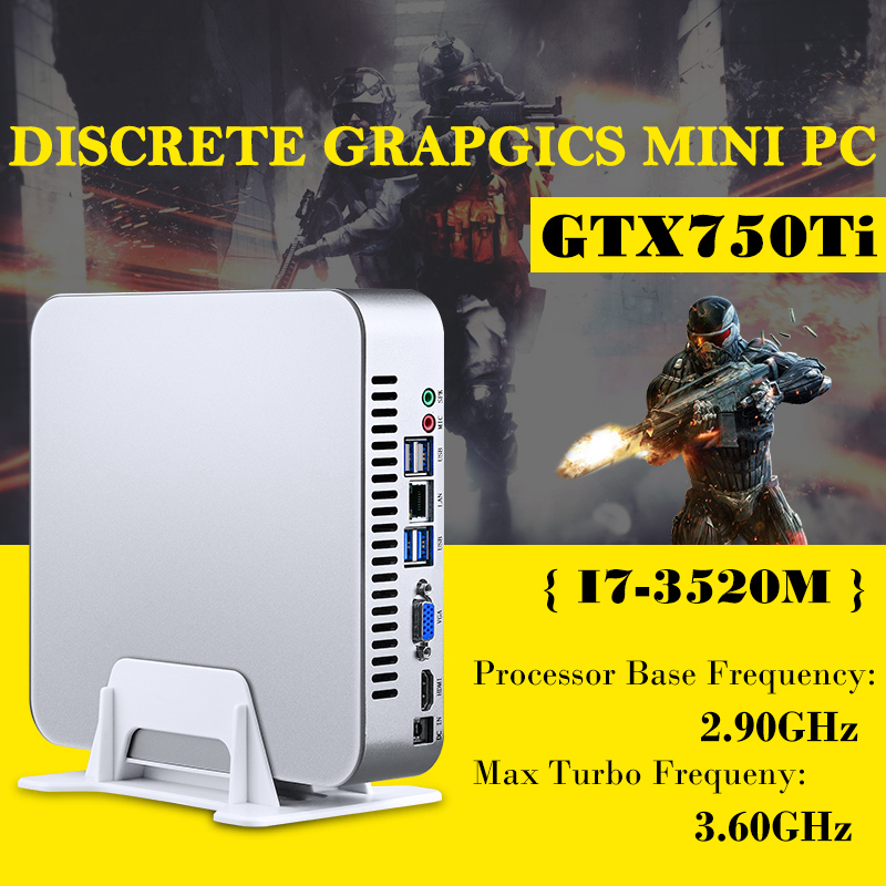 MSECORE Jeu Dual Core i7 3520 m avec GTX750TI 4g Dédié Carte Mini PC Windows 10 linux Ordinateur De Bureau nettop barebone HTPC