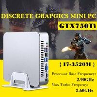 Msecore игры Dual Core i7 3520 м с GTX750TI 4G Дискретная Mini PC Windows 10 Настольный компьютер неттоп barebone системы HTPC