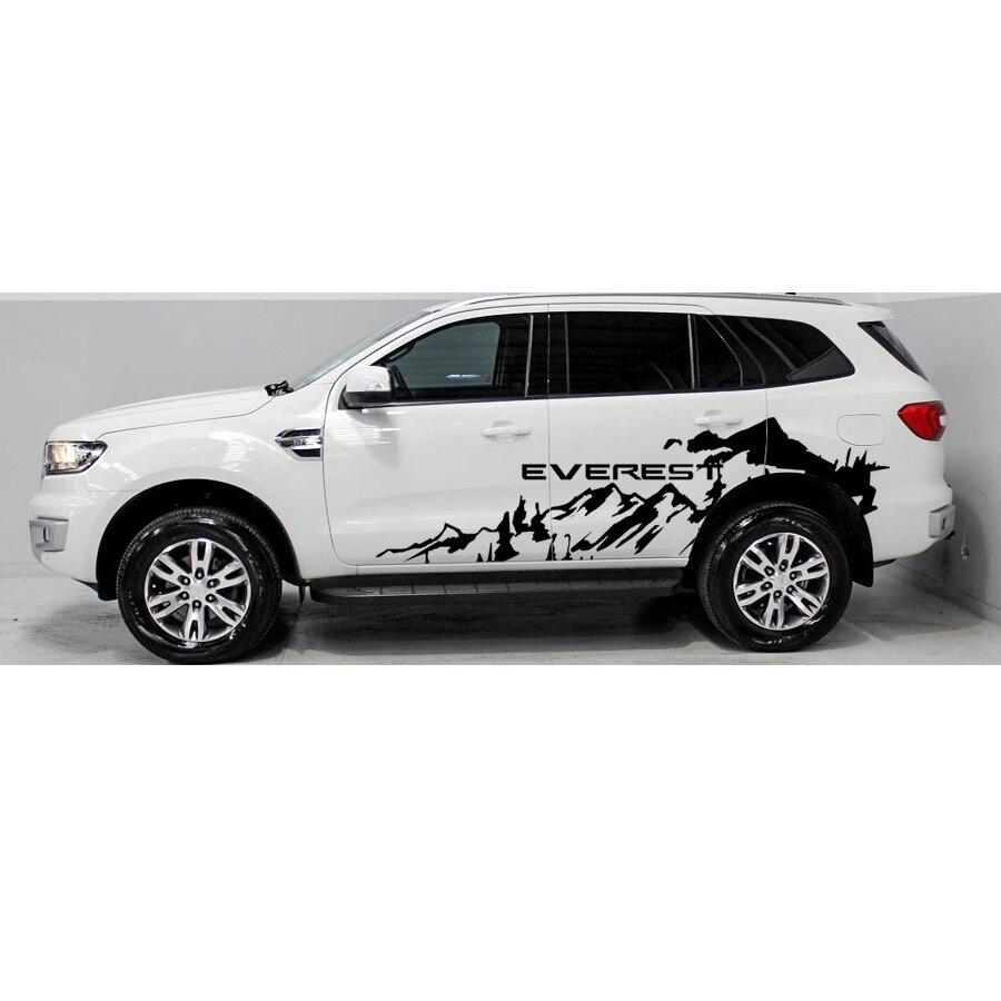 Бесплатная доставка 2 шт. бездорожье сбоку adventure mountain полосы графических виниловые наклейки для ford эверес 2015 2016 внедорожник аксессуары