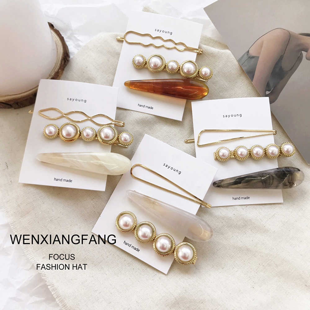 1 Set INS Marble Simple Hair Clips Combination Romantic Temperament Matte Pearl Side Clip Girls Gift Hair Card set accessories