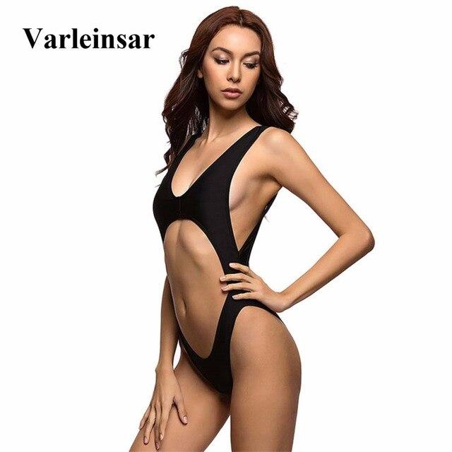 e7b472f056e0a Bather 2019 Black tummy cut out Sexy 1 one piece swimsuit Bathing suit swim  wear for women swimwear Female Monokini V110B