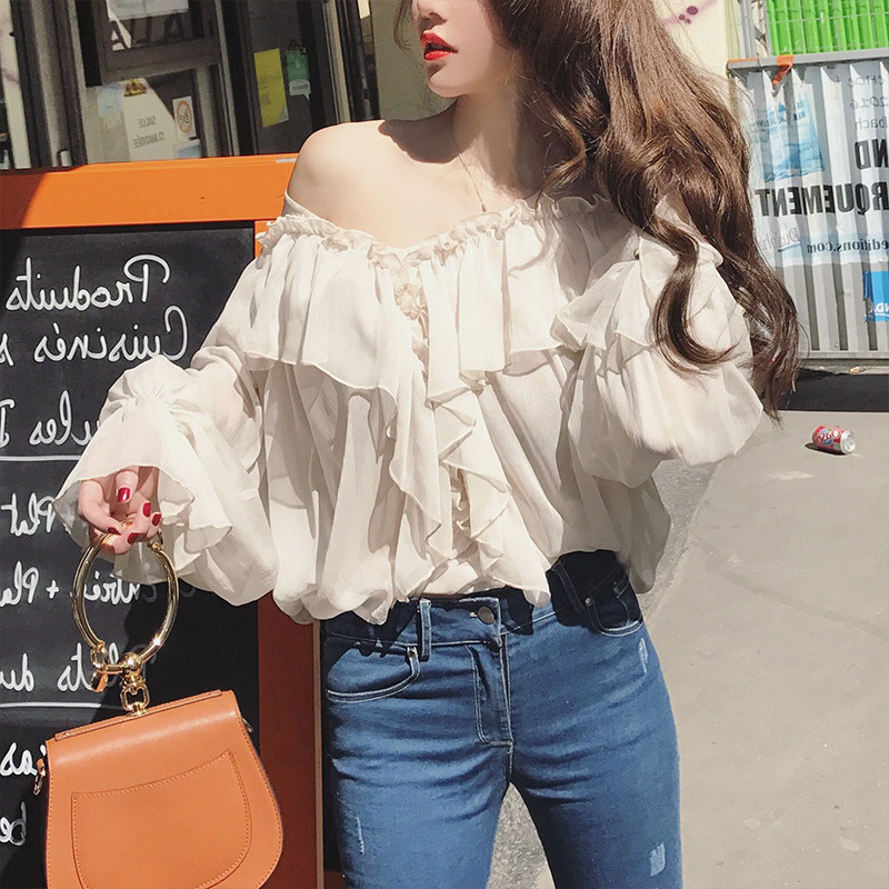 Freeship ladies vintage casual ruffled lantern sleeve top fairy &Shirts flare