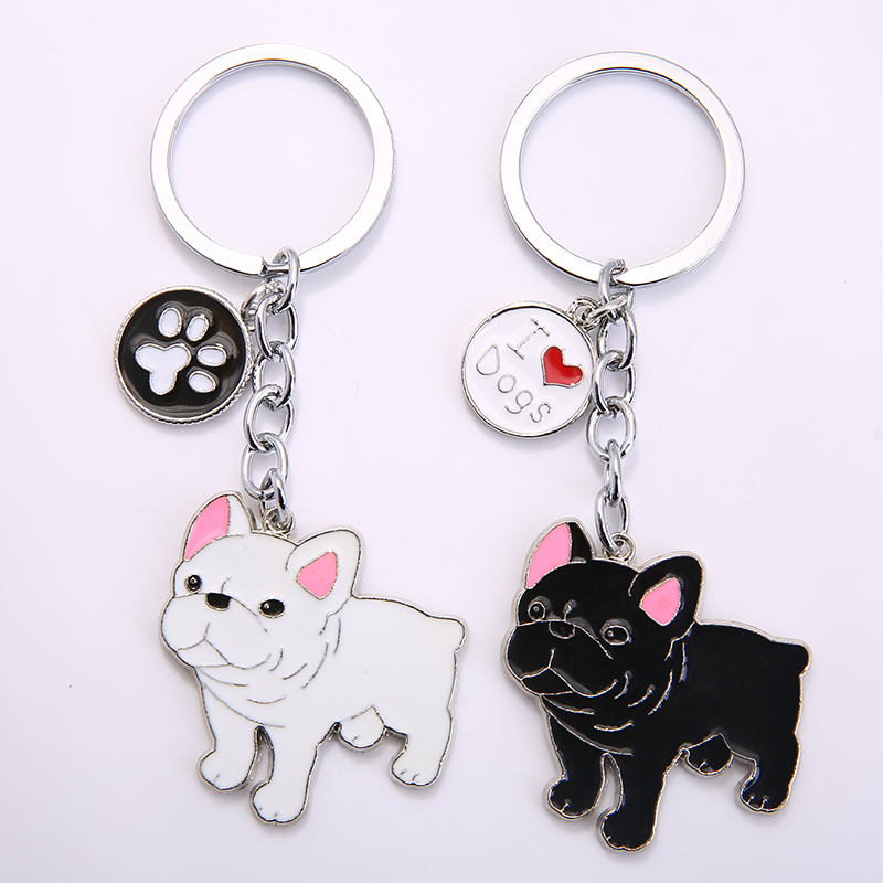 2019 New Cute Bulldog Dog Animal Silver Plated Metal Pendant Keychain For Bag Car Women Men Key Ring Love Jewelry