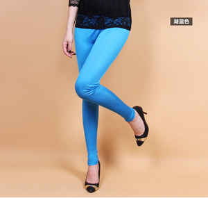 Image 4 - Female 100% real silk double faced long trousers candy silk legging slim pencil pants