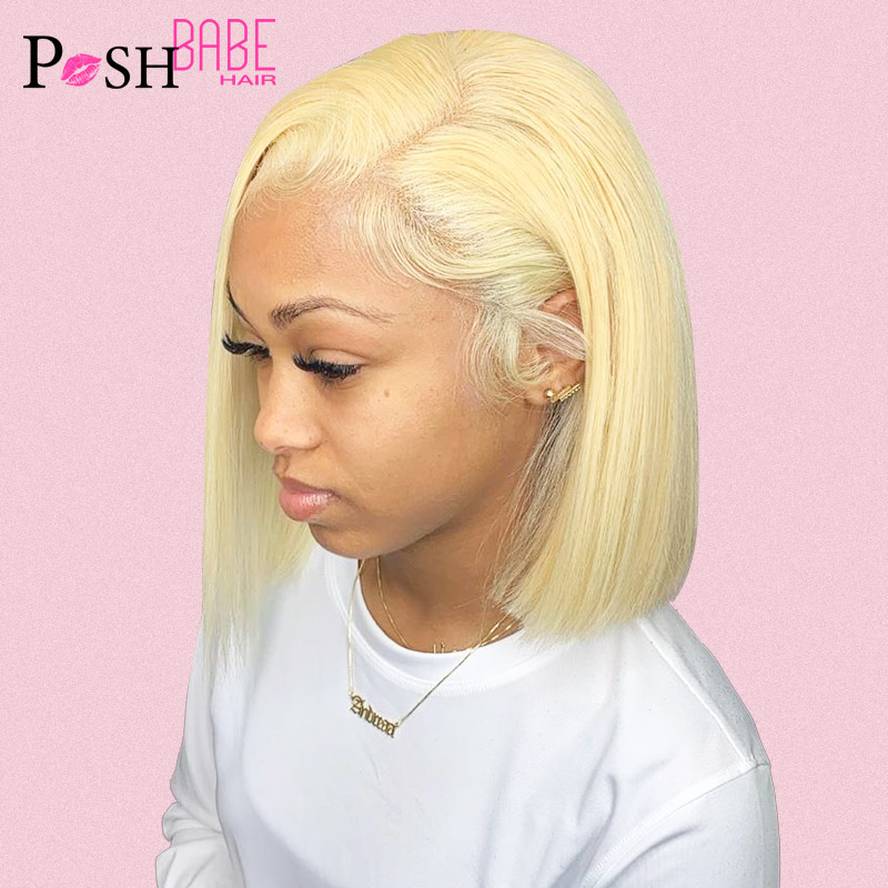 13x6 613 Honey Blonde Short Bob Lace Front Human Hair Wigs For Black Women Brazilian Straight