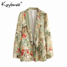 Vintage Chic Floral Print Pocket Blazers Coat Women 2019 Fashion Notched Collar Basic Office Lady Outerwear Casual Casaco Femme