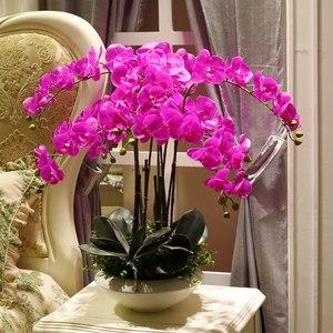 Image 5 - Artificial big size PU real touch hand feeling orchid flower arrangement bonsai flower only no vase luxious flower bouquet