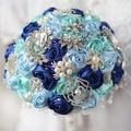 8 inch Custom blue Brooch Bouquet Bridal bride's Crystal Pearls royal Blue Rose Bouquet, sky blue&mint Wedding decoration