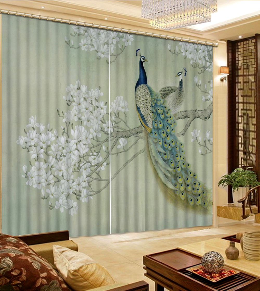 High Quality Customize Size Modern Peacock Fashion Decor Home Decoration For Bedroom Living Room Curtain