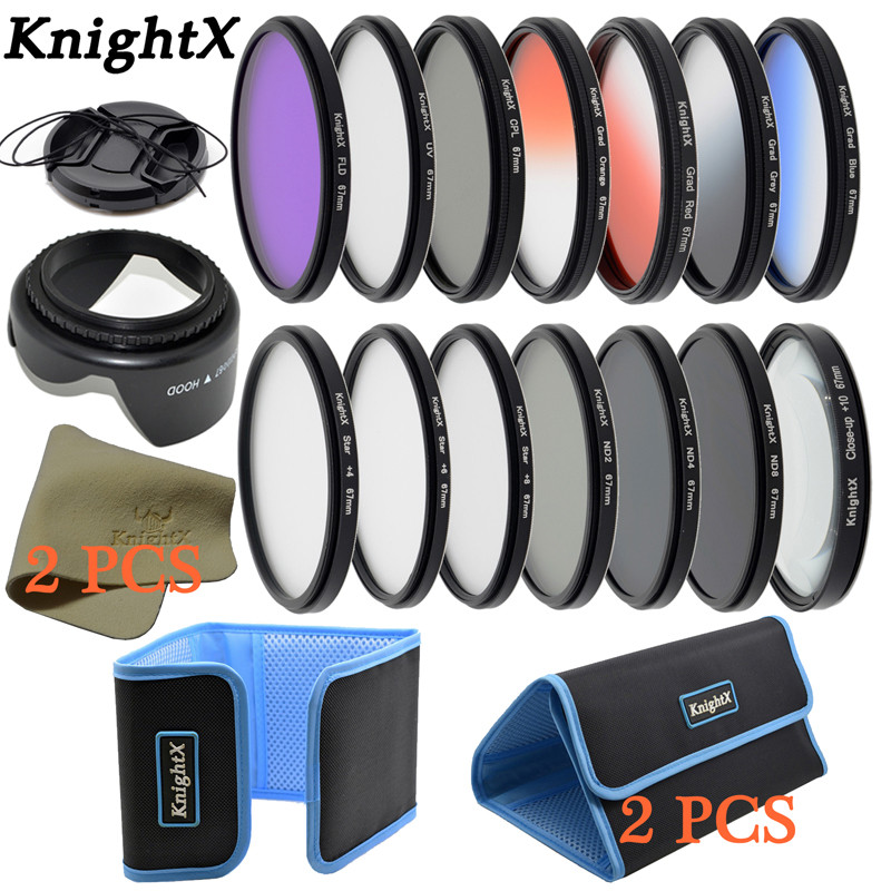 KnightX 14 filter FLD UV CPL ND Grad lens dish-cloth Lens cap for Sony Canon Nikon D5300 49MM 52MM 55MM 58MM 62MM 67MM 72MM 77MM