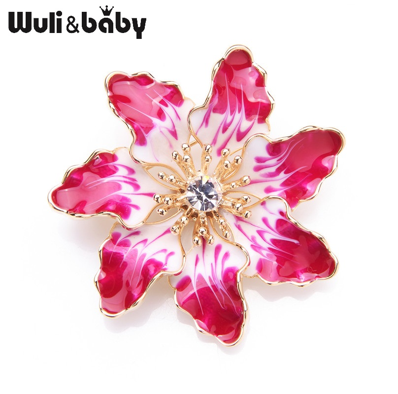 Wuli&baby Fashion Enamel Brooches For Women and Men Alloy Pink Purple Flowers We