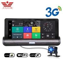 ANSTAR Android Wifi 3g зеркало автомобиля навигатор Dashcam gps 3-в-1 видео Регистраторы DVR Камера Двойной объектив полный HD1080P два Камера s Dvr