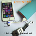 2 in 1 led cable with keychain Charging & data sync Applicable to rapple ipod nano touch 5 6 7 ehuawei mediapad charger telefon