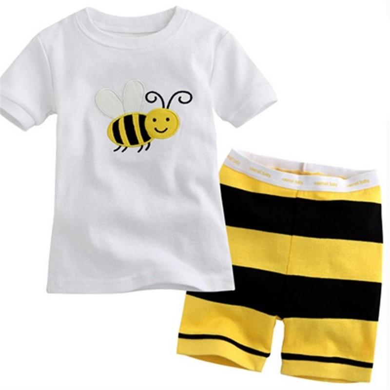 New Summer Kids Cartoon Clothing Sets Baby Boys Girls Short Sleeve