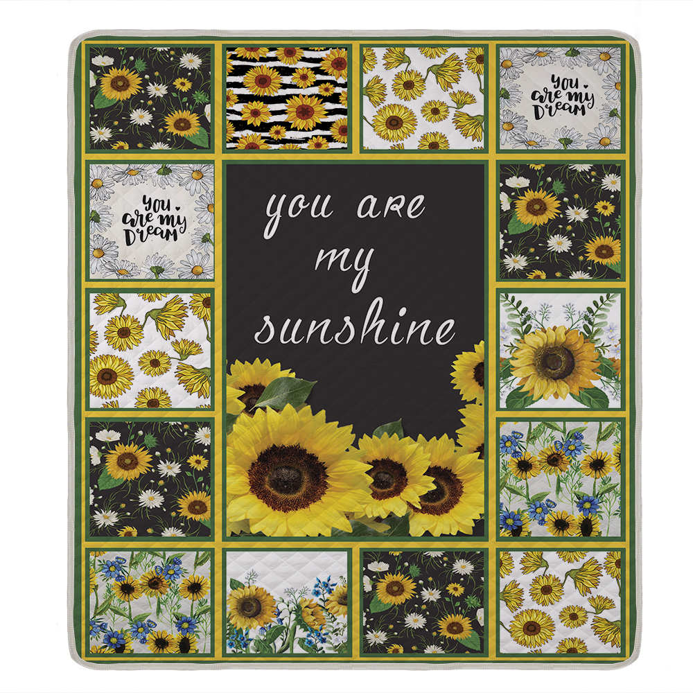 Miracille Sunflowers Print Quilt For Adult Bed Soft Warm Thin Blanket King Queen Size Custom Drop Shipping in Quilts from Home Garden