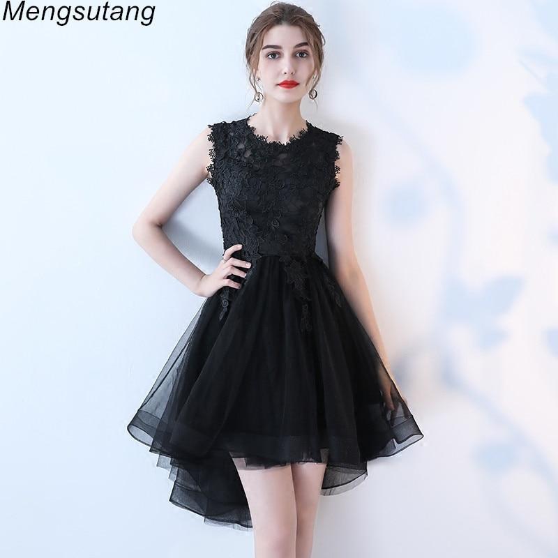 Robe de soiree Black Slim Short Front Long Back   Evening     Dresses   Elegant Lace vestido de festa Banquet Party Prom formal   dresses