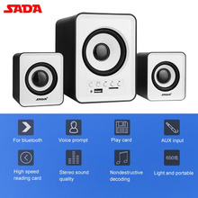SADA Stereo Mini Bluetooth 2.1 Speaker TF/U Disk FM Auto Matching Music Player for Desktop PC Laptop Mobile Phone