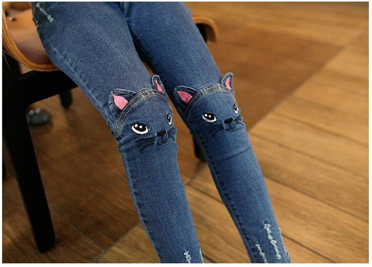 T-spring-autumn-child-cat-character-jeans-girls-pants-baby-jeans-trousers-child-pantalettes-1