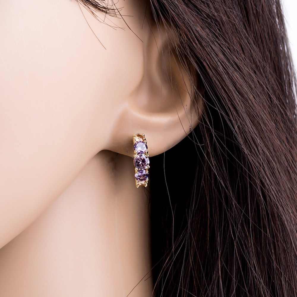 Fashion Purple AAA CZ Element Stud Earrings For Women Vintage Crystal Earrings Statement Women Wedding Jewelry