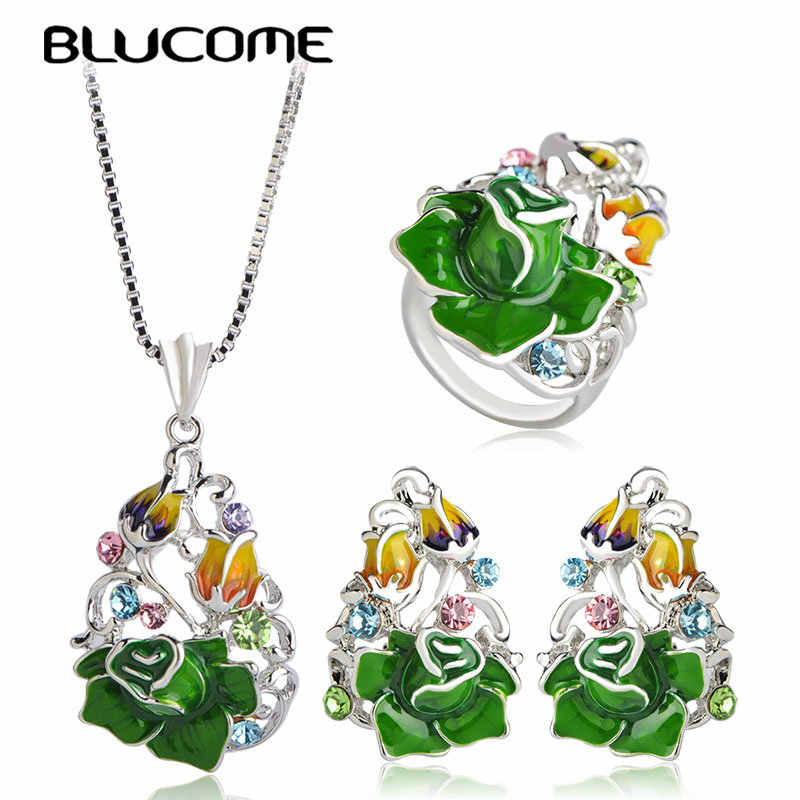 Blucome 2018 Trendy Rose Flower Jewelry Set For Women Party Wedding Accessories Green Enamel Pendant Necklace Earrings Ring Sets