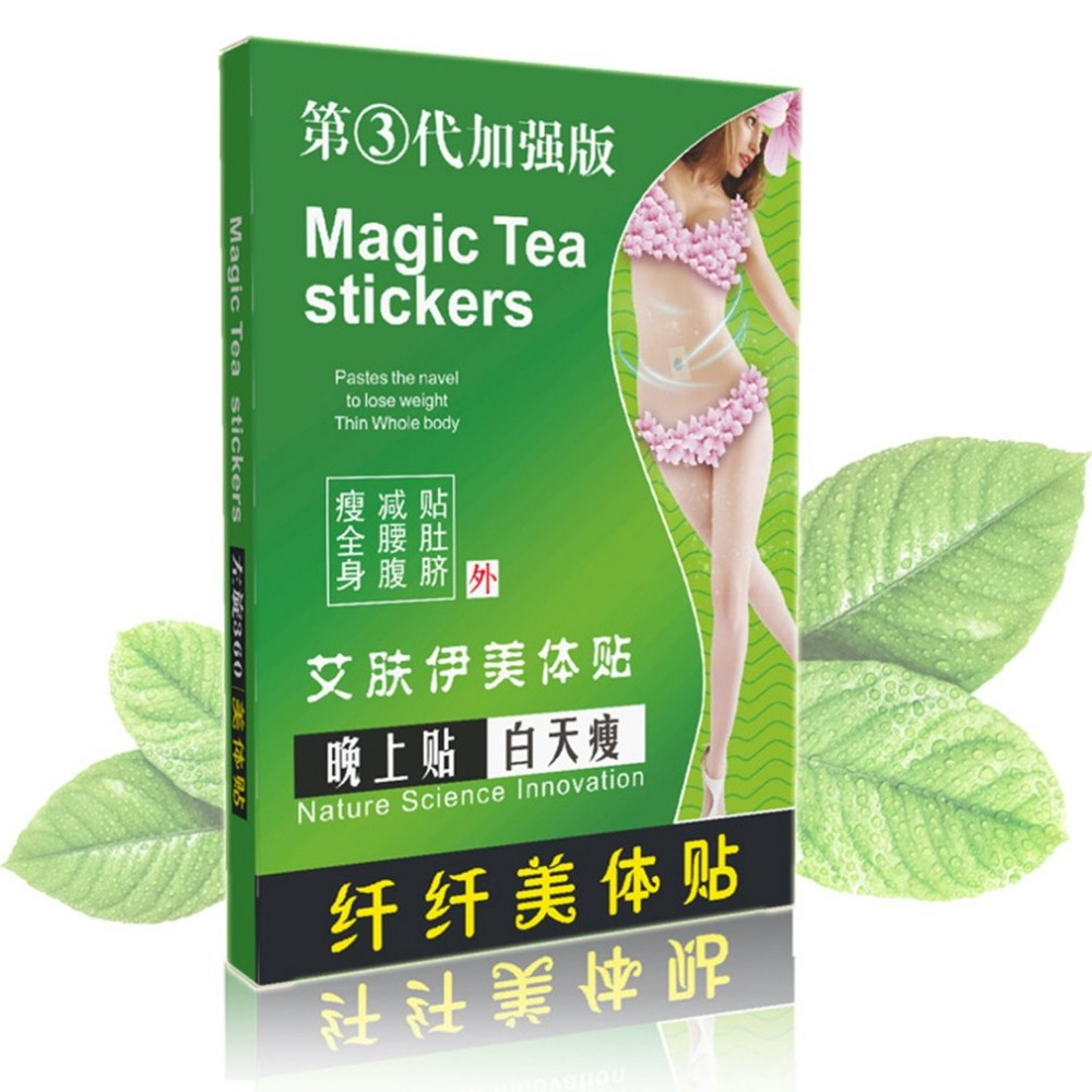 10PCS/Box Magic Sleeping Tea Stickers Fat Burning Stickers Slimming Patch Plaster Perfect Body Forming Paste Skinny Waist Patch taiwan alishan tea high mountain gold oolong tea reduce fat slimming tea 250g free shipping