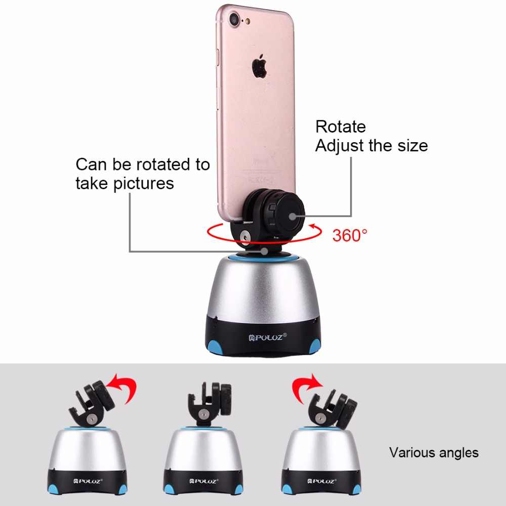 GoPro Round Tray with Control Remote for Smartphones DSLR Cameras Soft Camera Protective case Electronic 360 Degree Rotation Panoramic Tripod Head Color : Blue
