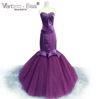 VARBOO_ELSA Robe Soiree Sweetheart Backless Mermaid Prom Dresses satin Skirts Prom Dress Floor Length purple Long Prom Dresses