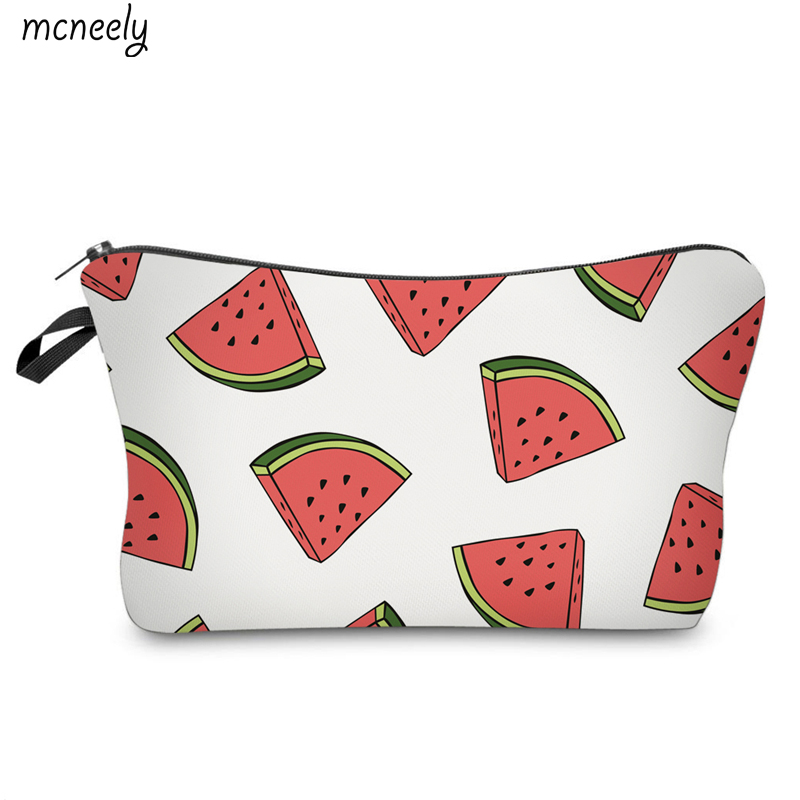 Watermelon Printing Popular Cosmetic Bag Travel Wash Pouch Zipper Waterproof Make Up Case Make Up Organizer Toiletry Storage drawing strap design gadgets storage nylon bag pouch set watermelon red 4 pcs