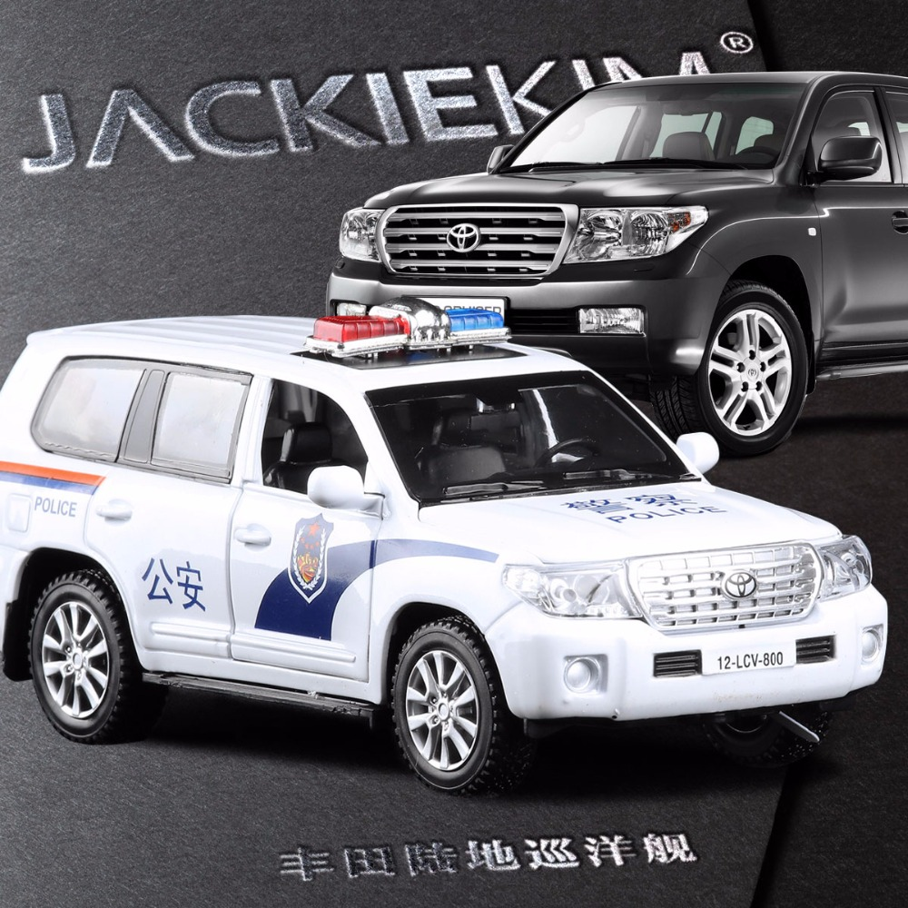 New 1 32 land cruiser police model car diecast metal pull back auto toy 2