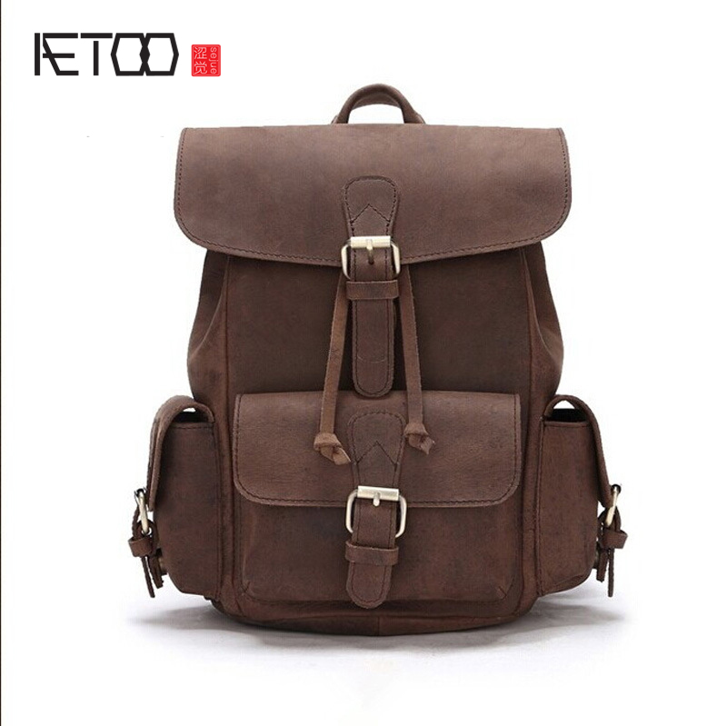 AETOO Handmade wiping Korean version of the female bag shoulder bag leather casual backpack trend school wind pressure flower b aetoo first layer of leather shoulder bag female bag korean version of the school wind simple wild casual elephant pattern durab