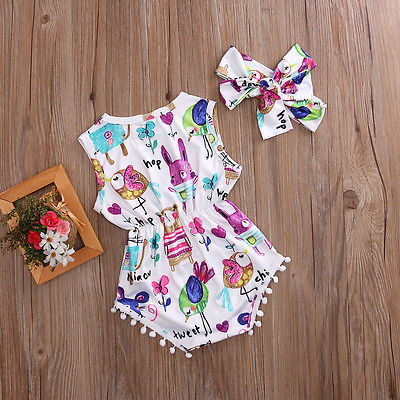 Summer Style Sleeveless Romper with Headband for Baby Girl