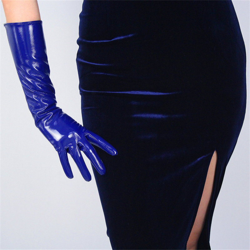 40cm Patent Leather Long Gloves Long Section PU Emulation Leather Warm Bright Leather Mirror Royal Blue Dark Blue Female WPU57