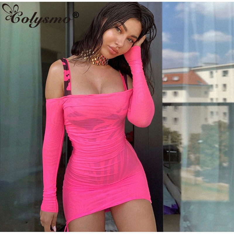 Colysmo Hot Pink Beach Dress Cover Up Wear Woman Sexy Off Shoulder Mesh Bodycon Bikini Swimsuit 2019