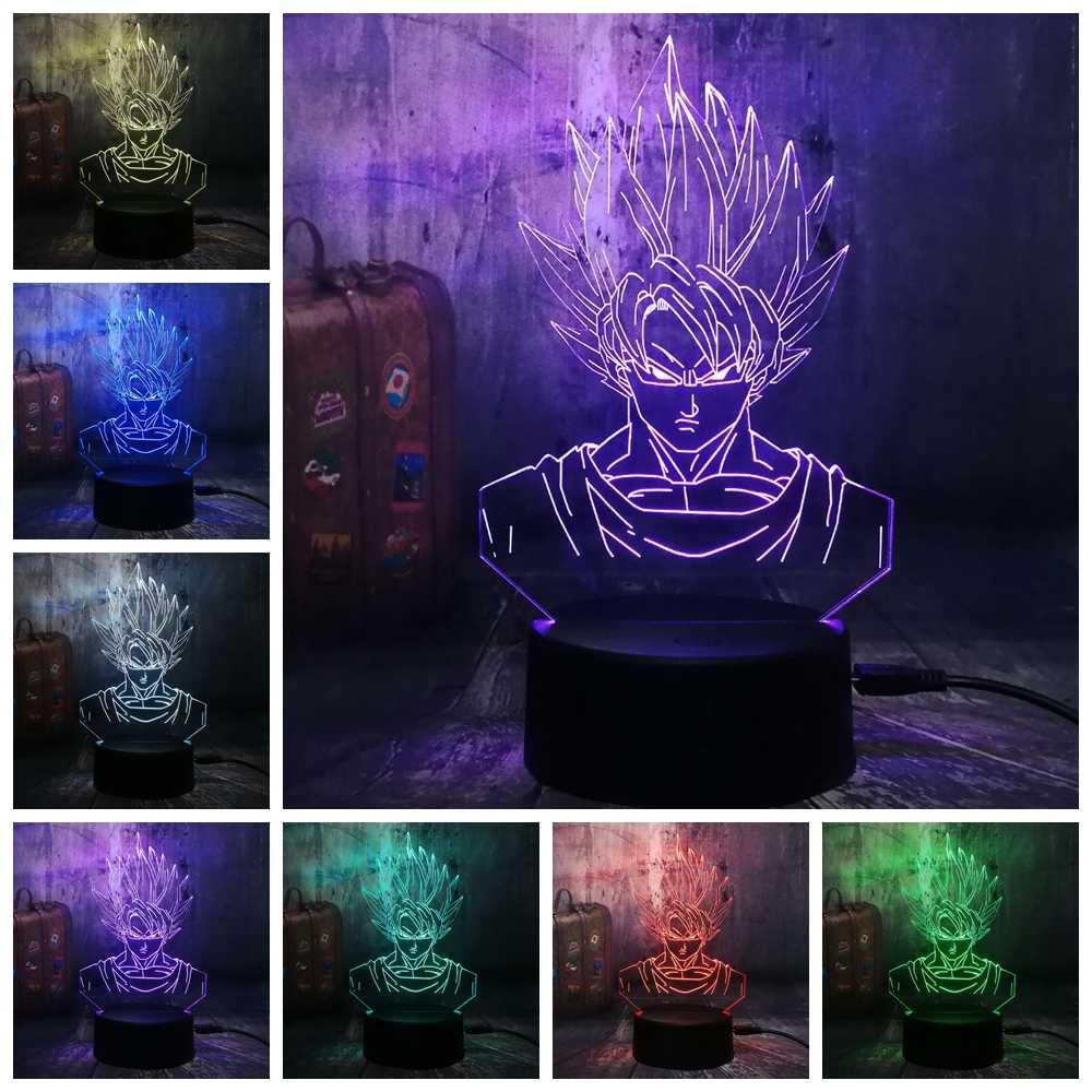 Мультфильм 3D светодиодный светильник Dragon Ball Супер Saiyan God Son экшен-фигурка Гоку настольная лампа 7 цветов ночник для мальчиков Рождественский подарок Лава