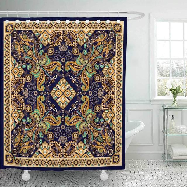 Fabric Shower Curtain With Hooks Batik Design For Pocket Shawl Paisley Floral Pattern Golden Ethnic Indian Indonesia