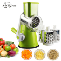 LMETJMA Manual Rotary Vegetable Slicer Cutter Kitchen Vegetable Cheese Grater Chopper with 3 Sharp Stainless Steel Drums KC0082