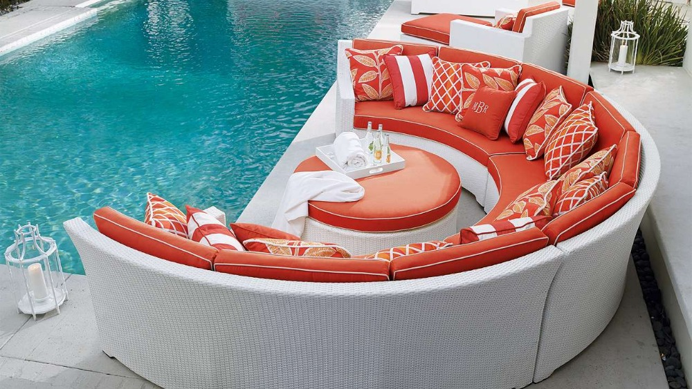 2017 hot sale plastic rattan dubai cheers sofa round shaped rattan outdoor furniturechina