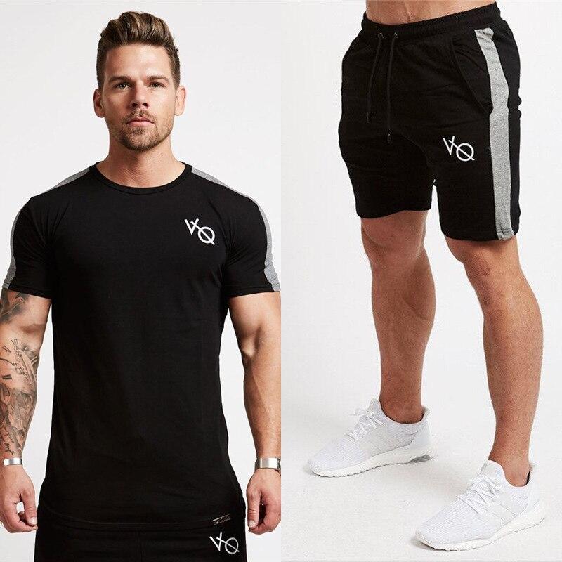 Été 2 pièces ensemble de course hommes T-Shirt manches courtes Football Football Basketball Sport porter costume de Sport hommes vêtements de Fitness