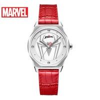 Disney Super Girls Hero Marvel Spider Women Fashion Casual Red Wrist Watches Lady Waterproof Watch Montre Femme Cool Clock Gift